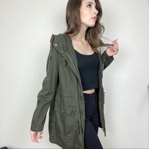 F21 olive green long anorak light utility jacket